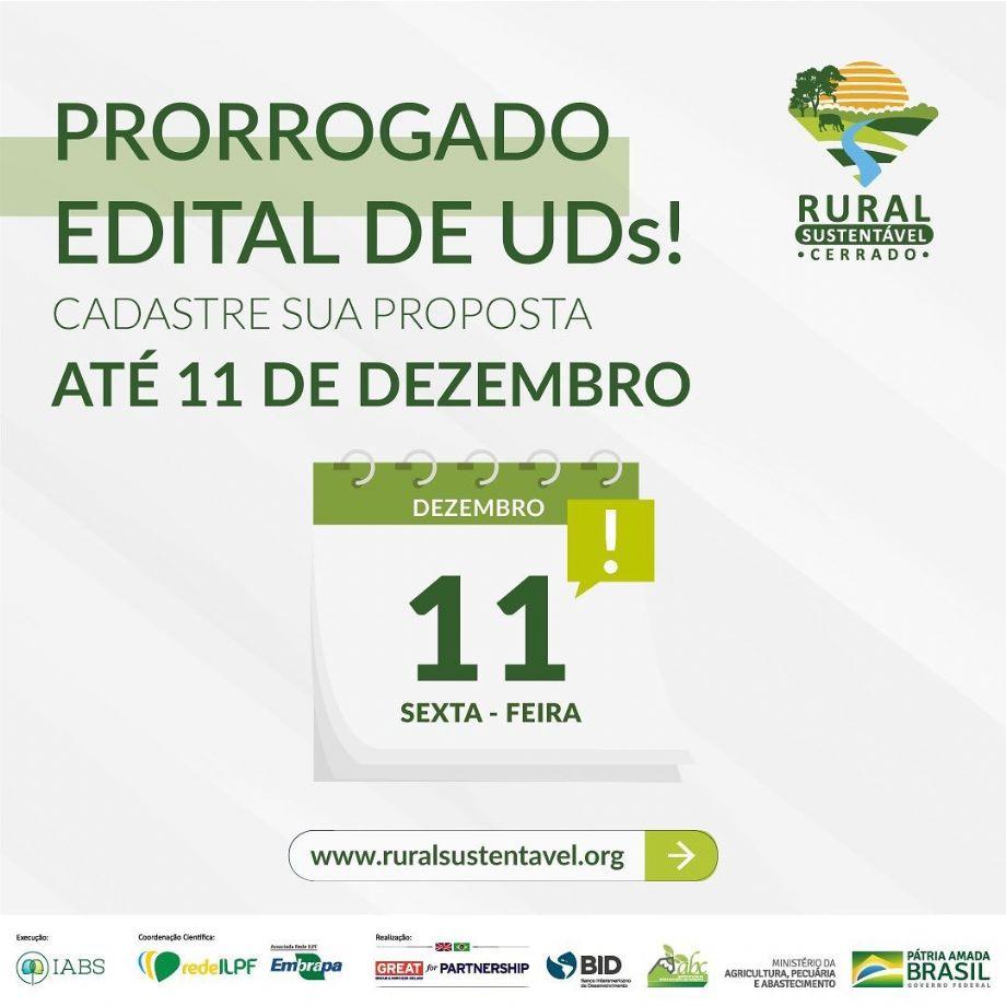 Última semana de inscrições para o cadastro de proposta no Edital de Unidades Demonstrativas (UDs) - Projeto Rural Sustentável - Cerrado